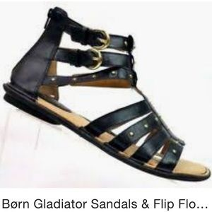 BOC BORN GLADIATOR Sandals Black Goldtone buckles
